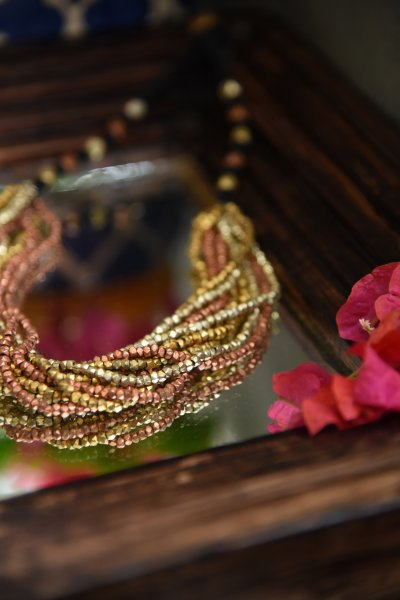DHOKRA 10 LAYERED MULTICOLORED NECKLACE