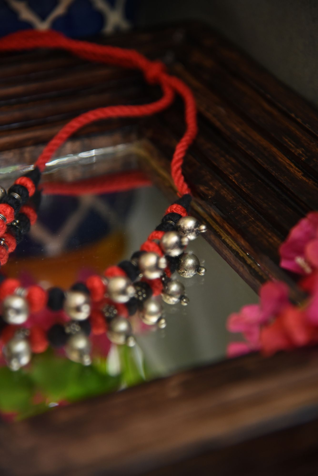 GERMAN SILVER BEADS IN BLACK & RED THREAD