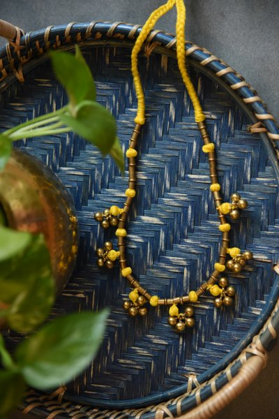 DHOKRA BALL NECKLACE IN YELLOW THREAD