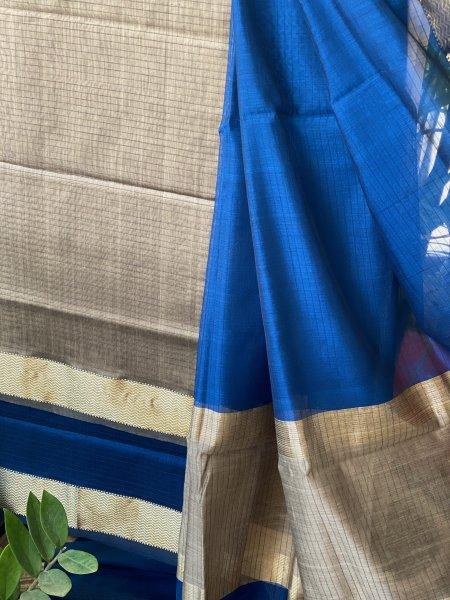 BLUE & GREY MAHESWARI SILK COTTON DUPATTA SET