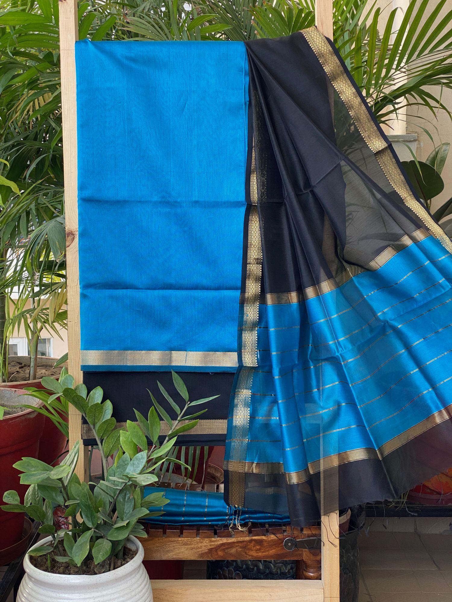 BLACK & BLUE MAHESWARI SILK COTTON DUPATTA SET