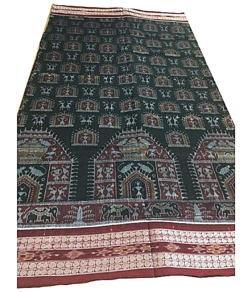 Black Tribal Ikat Sambalpuri Cotton Saree