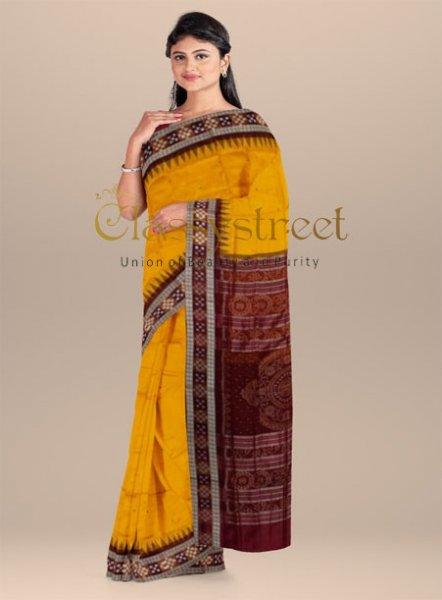 Yellow and Maroon pasapalli border Sambalpuri silk saree