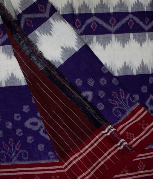 Blue and White Sambalpuri cotton saree