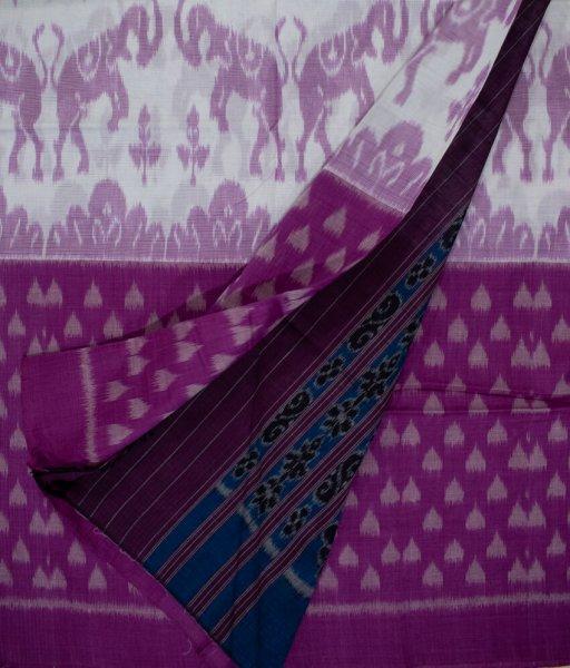 Purple and Blue Sambalpuri cotton saree