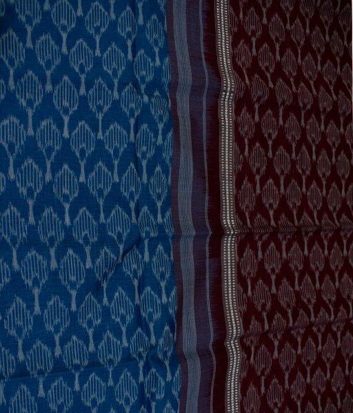 Blue and Maroon Sambalpuri cotton saree