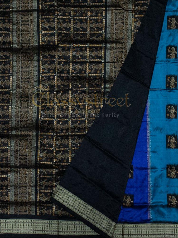 Blue and Black Putli Design Bomkai silk saree