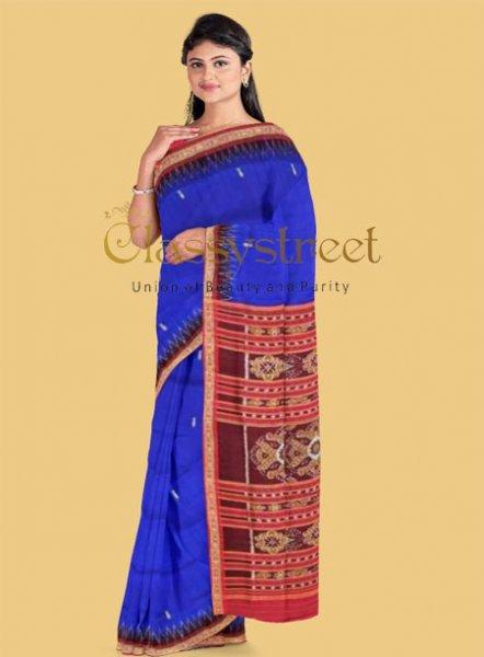 Blue and Maroon Khandua Silk saree