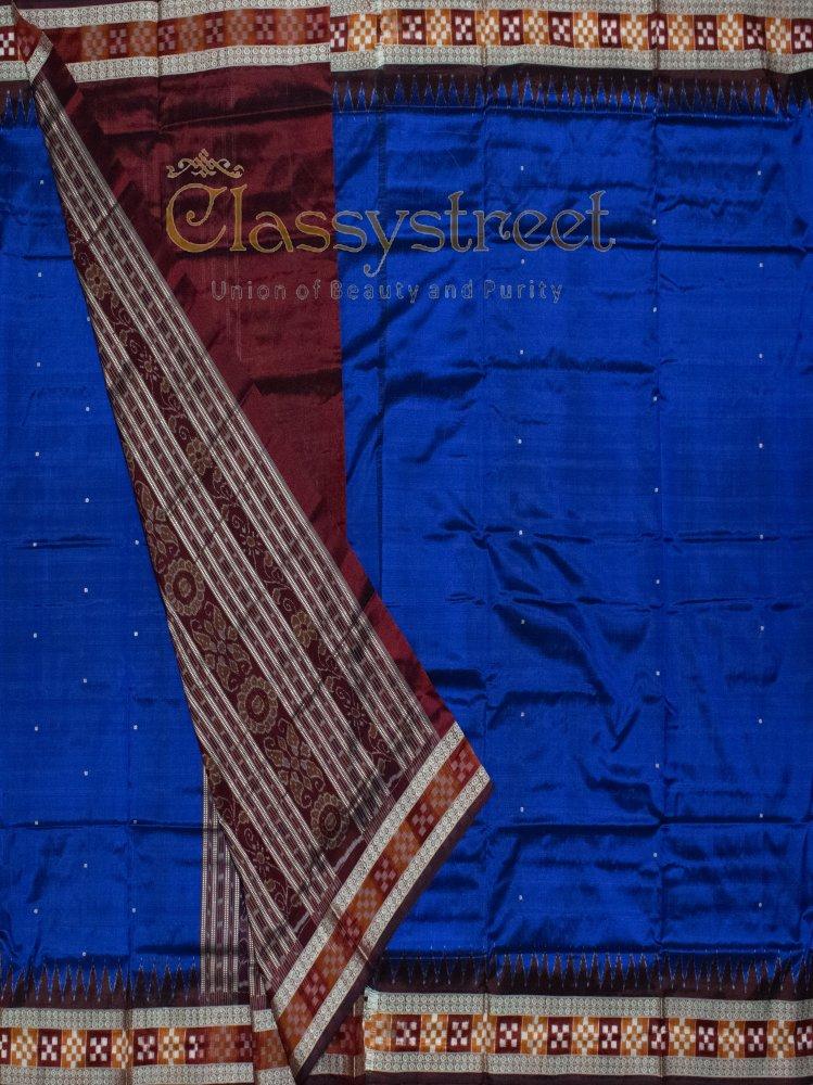 Blue and Brown Sambalpuri silk saree