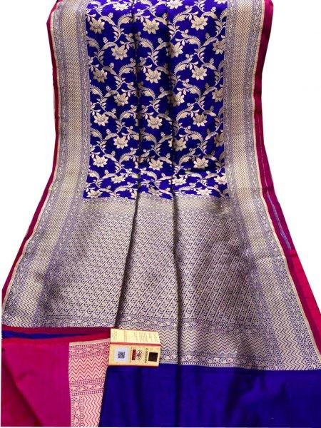 Blue and Silver katan Banarasi silk saree
