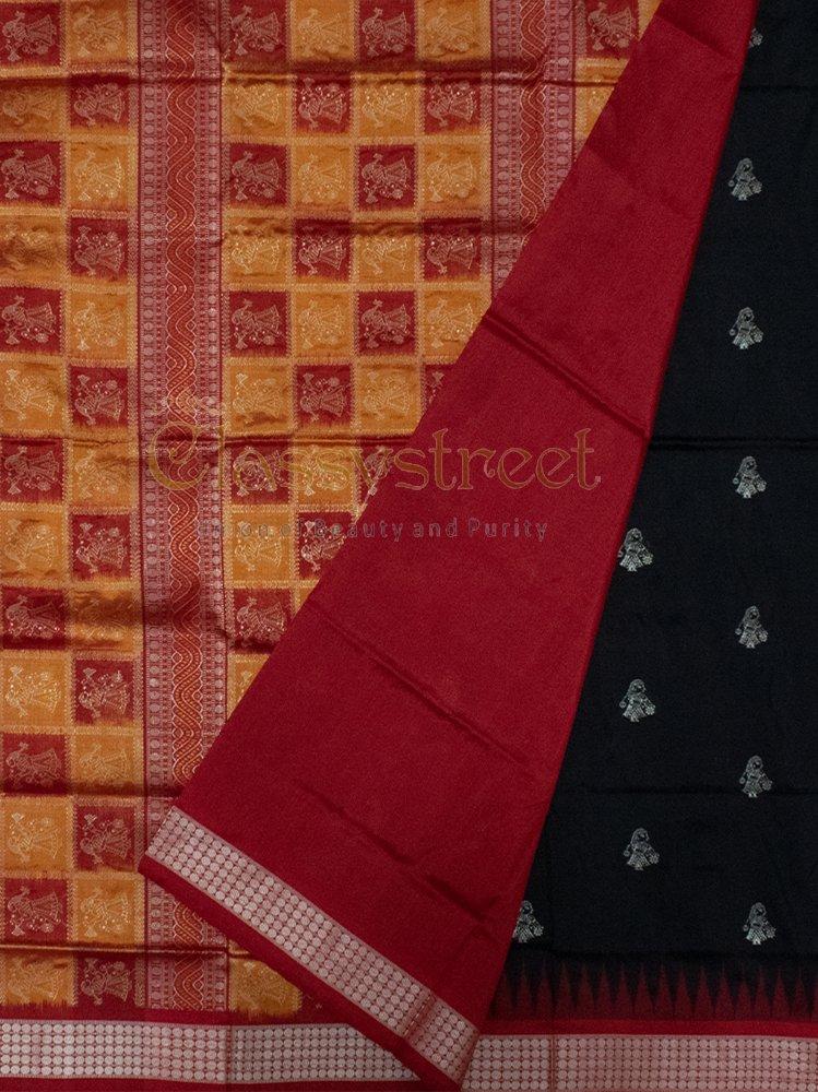 Black and Red Bomkai silk saree