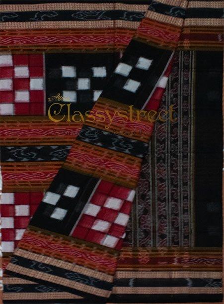Red, white and black Bichitrapuri Sambalpuri cotton saree