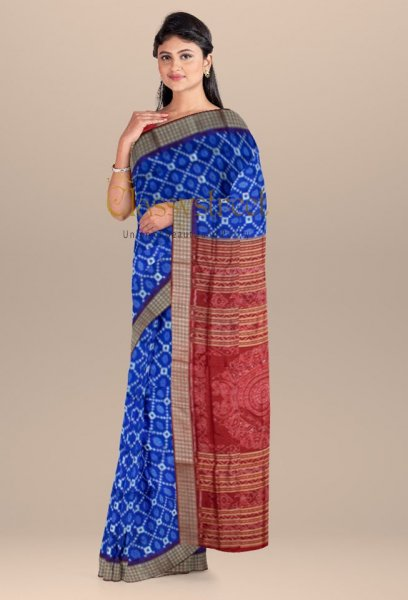 Blue and Red handwoven pasapalli silk saree