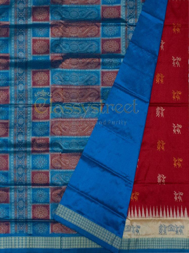 Red and Blue Body putli Bomkai silk saree