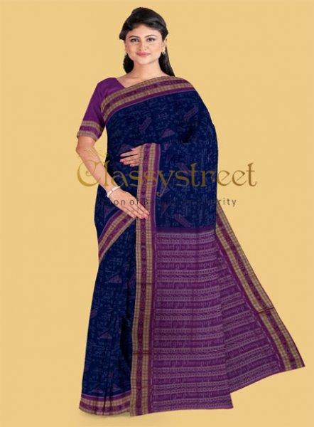 Black and Pink Mathematics Design Sambalpuri cotton saree