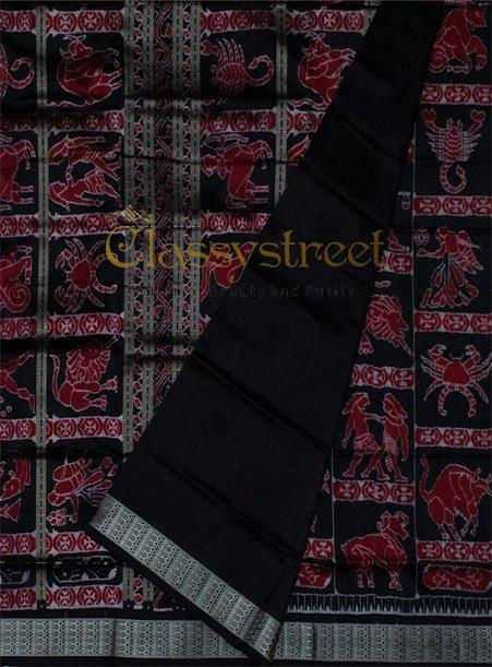 Black and Maroon Rashiphala  Sambalpuri silk saree