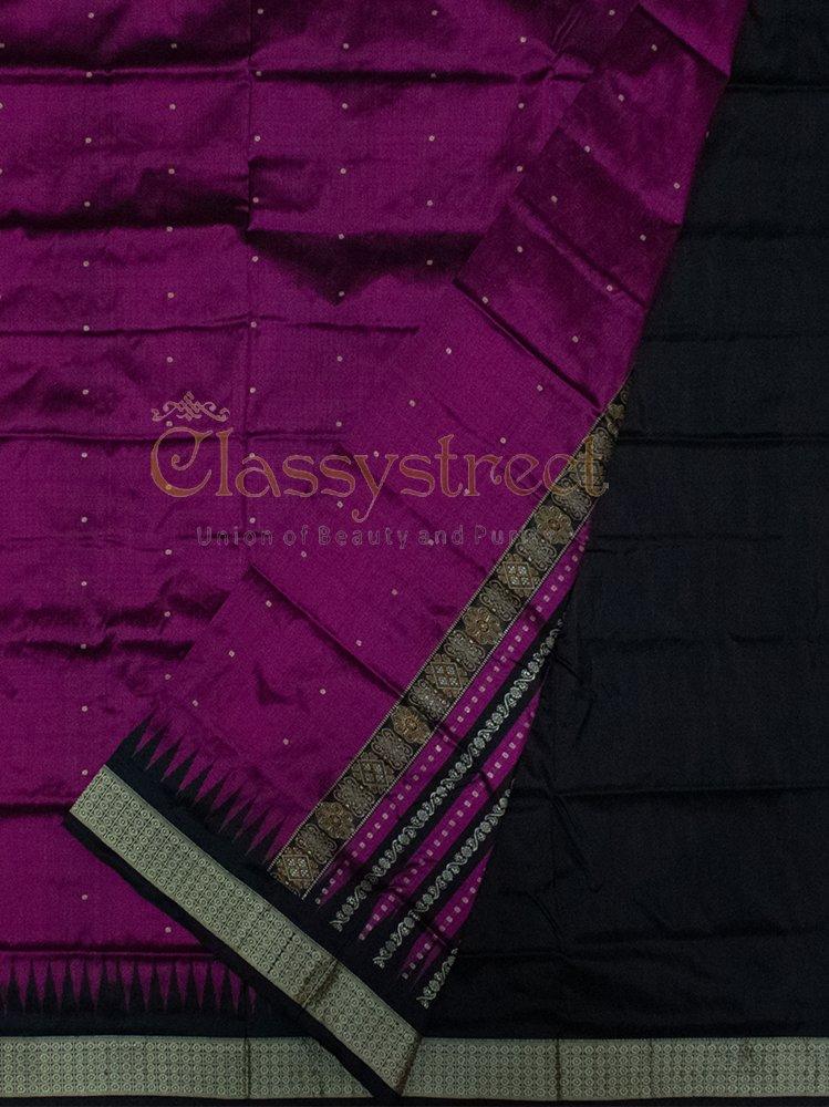 Purple and Black Bomkai silk saree