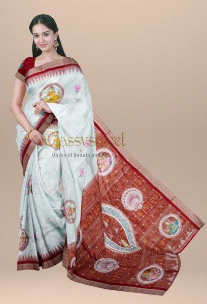 White and Red pattachitra silk saree
