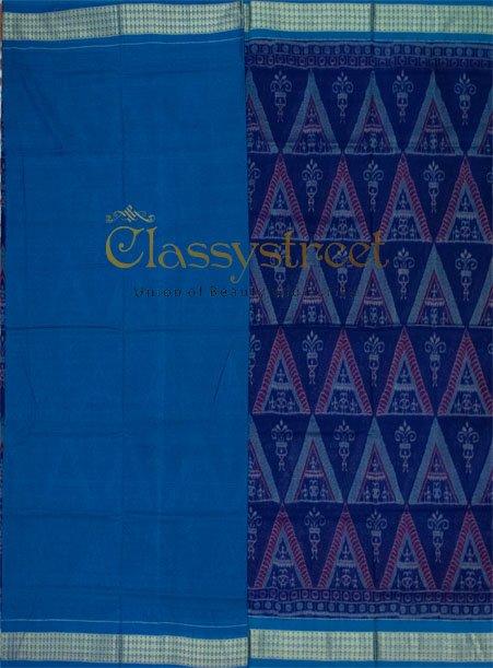Blue Sambalpuri cotton saree