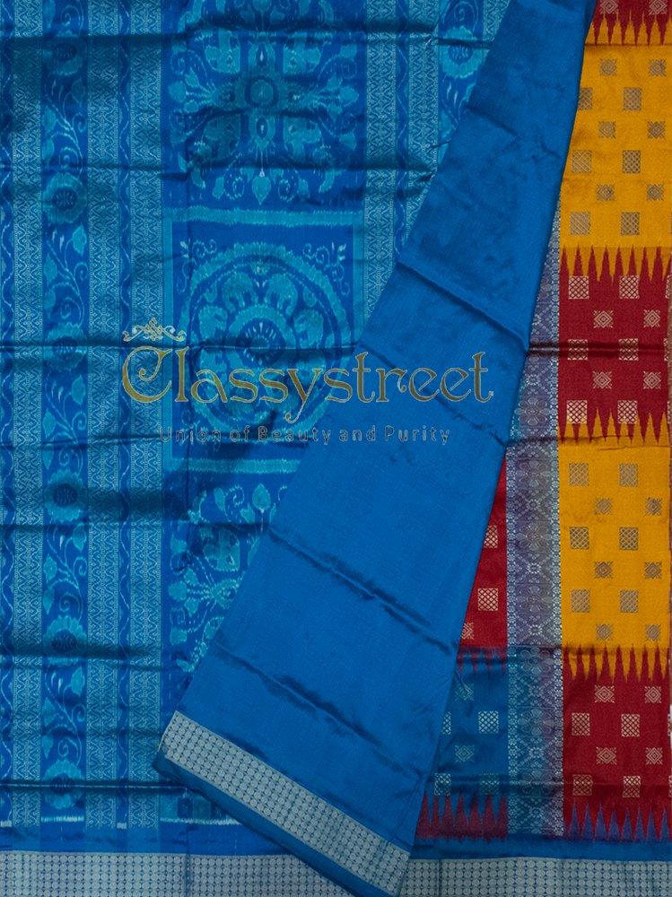 Red, Blue and Yellow Bomkai silk saree