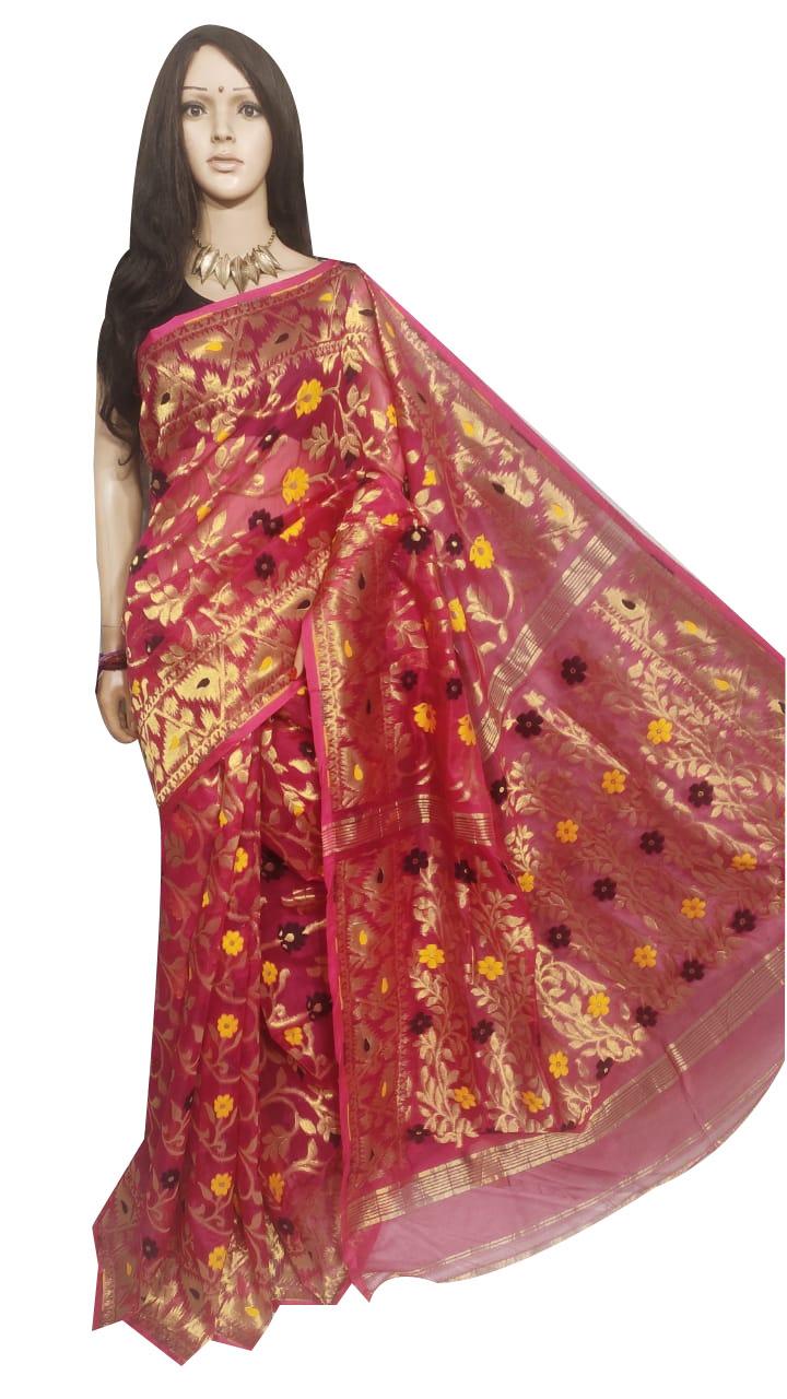 Maroon full body weaving work jamdani silk saree