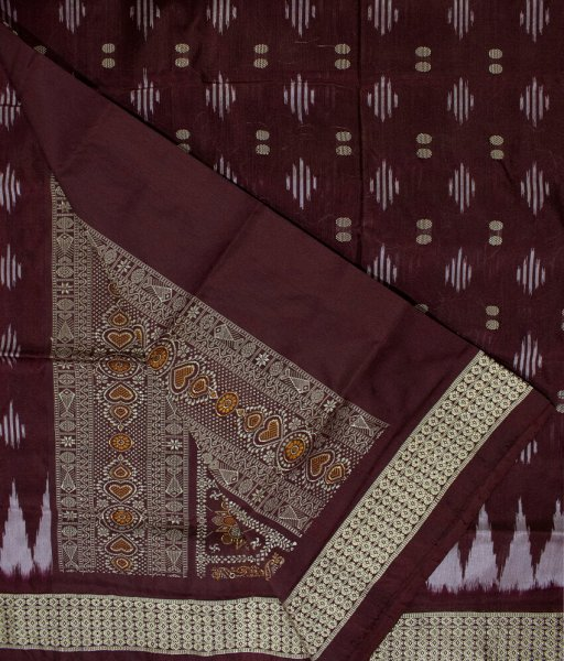 Brown and Gray handwoven Bomkai silk saree