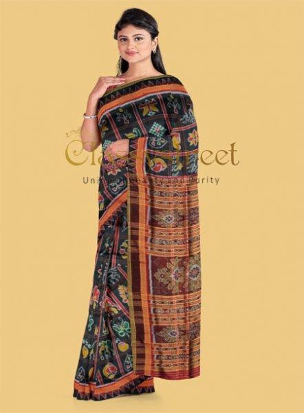 Black and Maroon Nabokothi silk saree