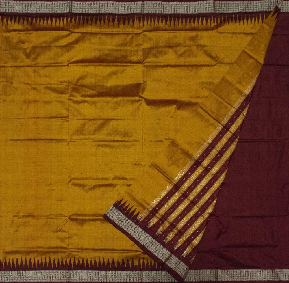 Mustard yellow and Maroon Bomkai silk saree