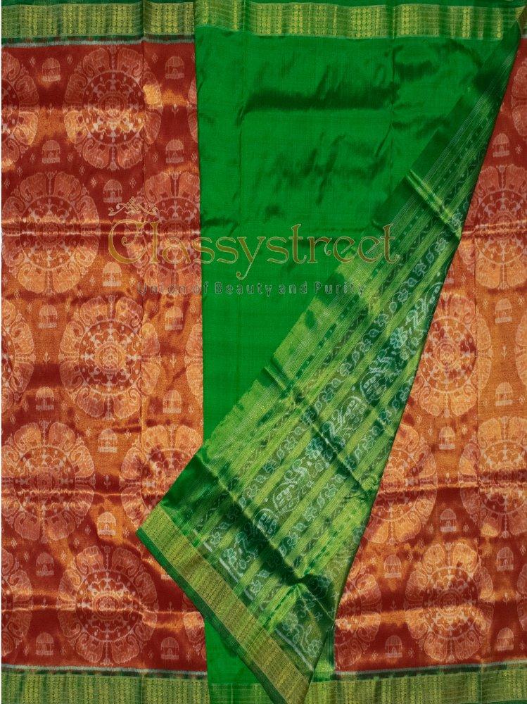 Green and Maroon Sambalpuri Tissue silk saree