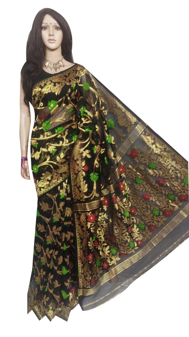 Black full body weaving work jamdani silk saree