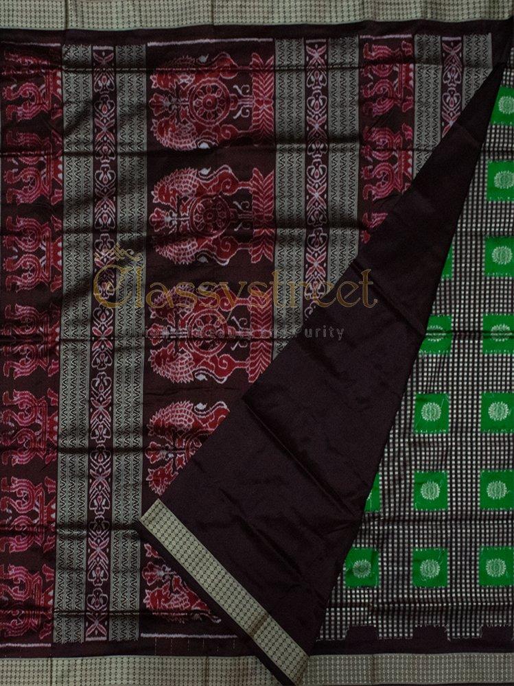 Green, Black and Maroon Bomkai silk saree