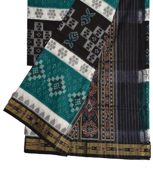 Black & Green Khandua Cotton Saree