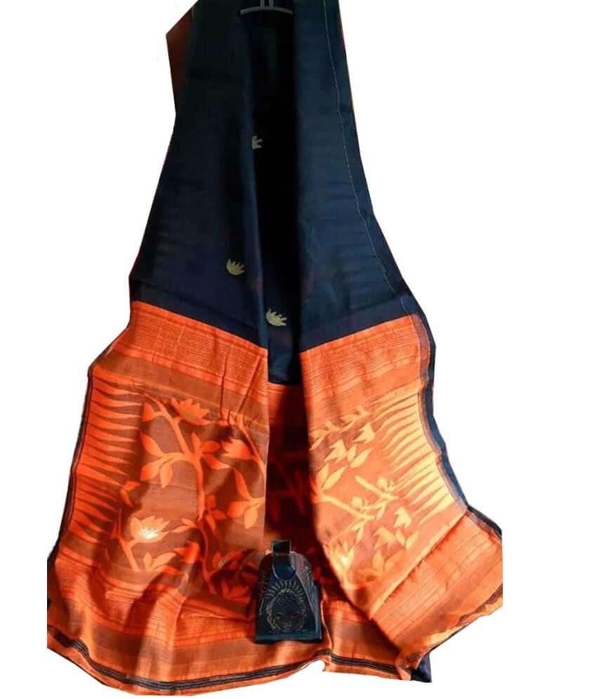 Black & Orange Jamdani Saree