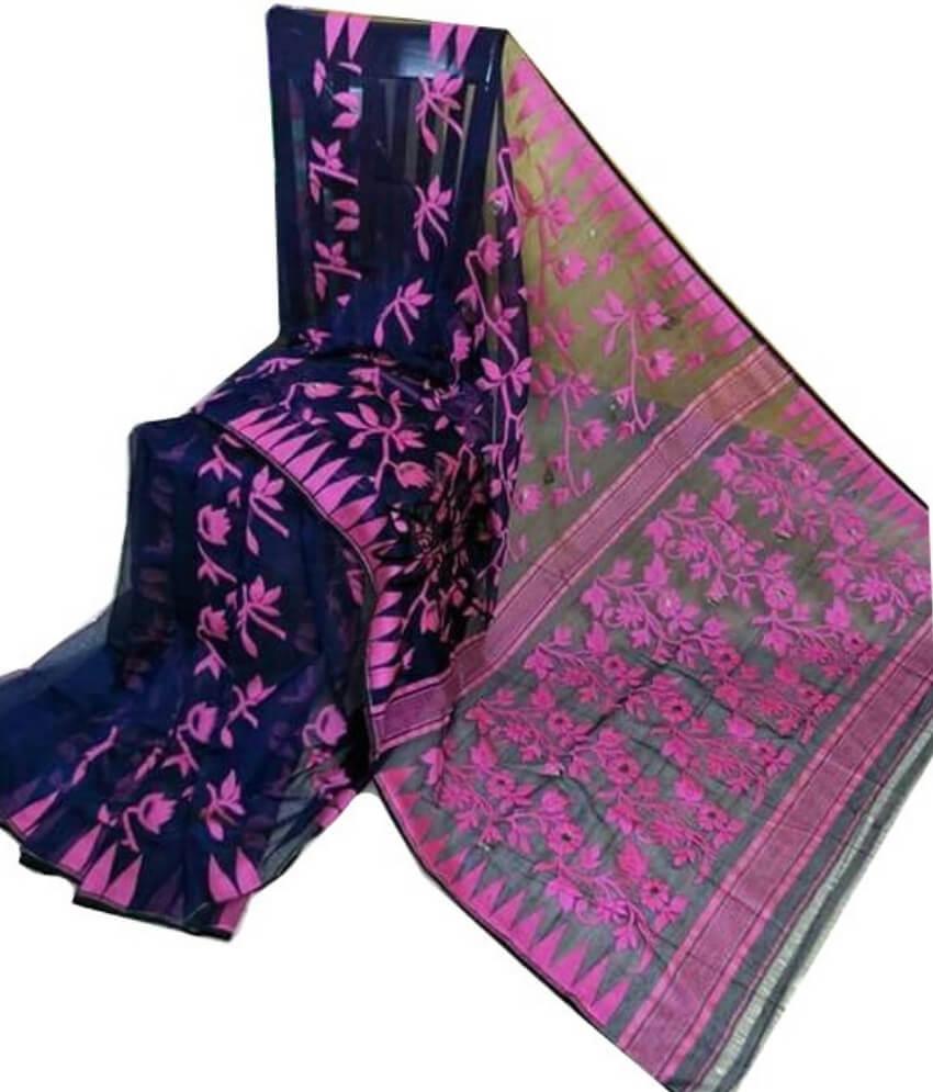 Black & Pink Jamdani Saree