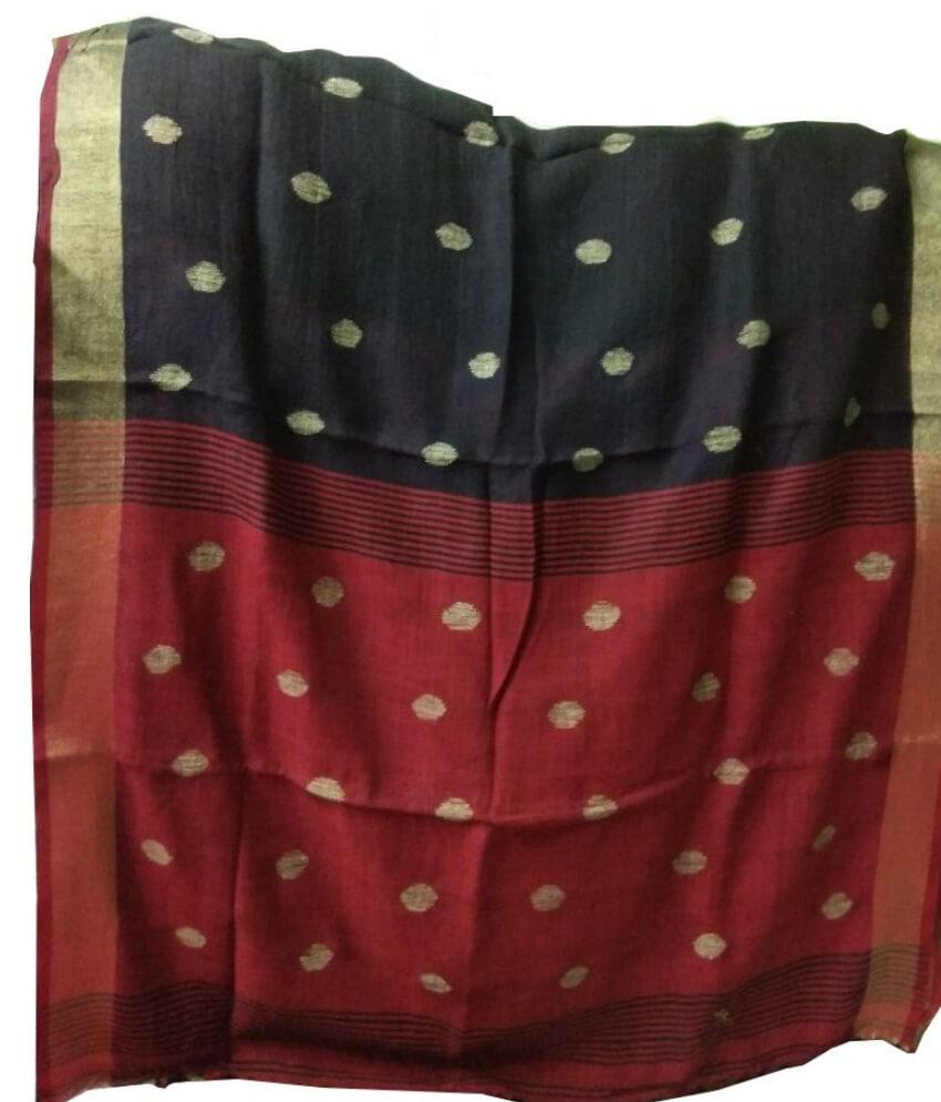 Black & Red Ball Buti Linen Saree