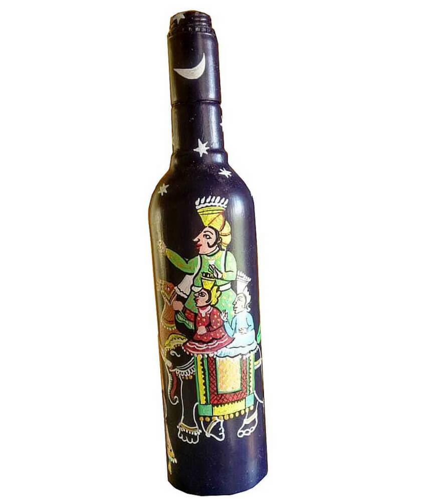 Black Pattachitra painted Bottle
