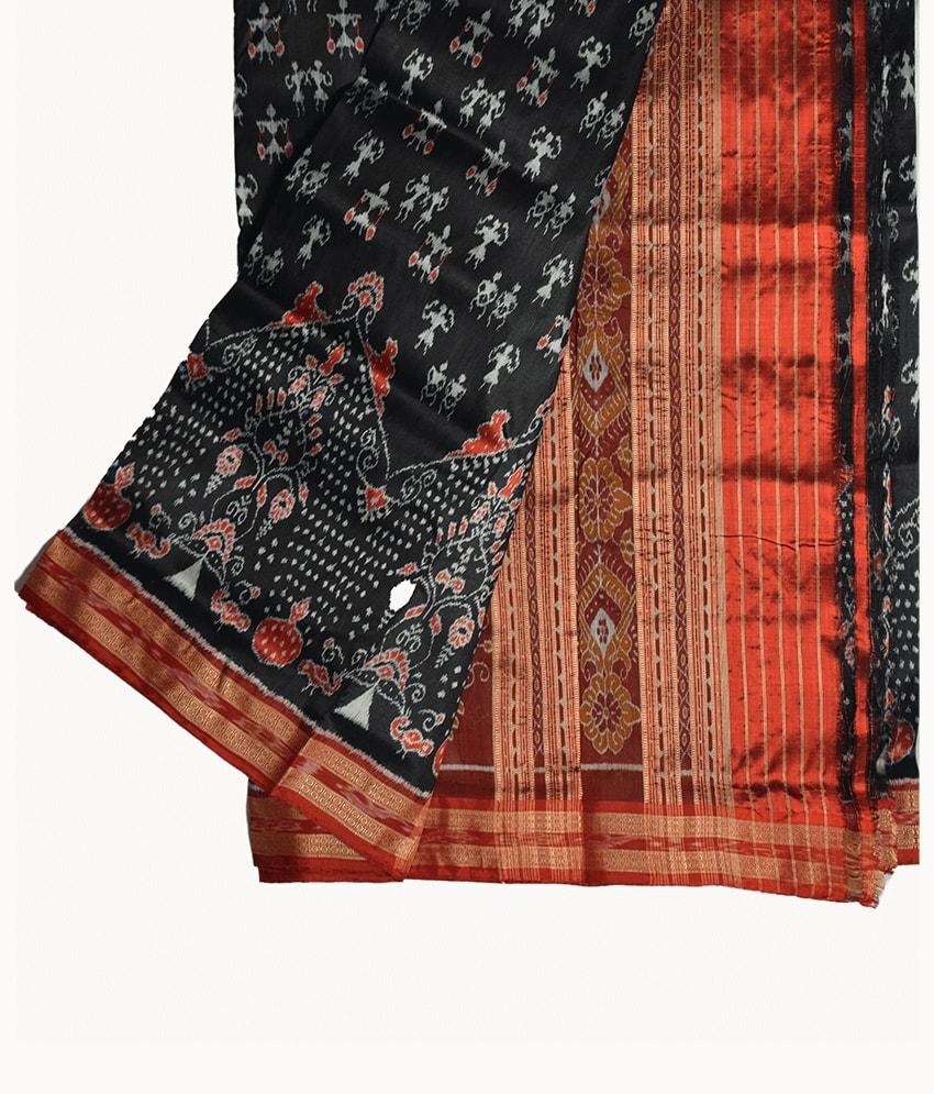 Black Tribal Khandua Silk Saree