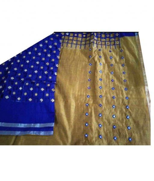 Blue & Cream Cotton Silk Cut Work Saree