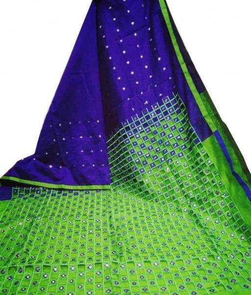 Blue & Green Cotton Silk Cut Work Saree