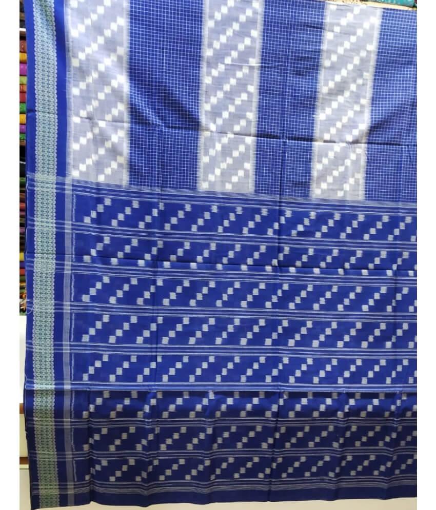 Blue & White Sambalpuri Saree