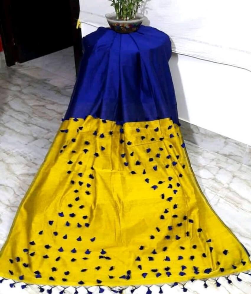Blue & Yellow Pallu Pum Pum Saree