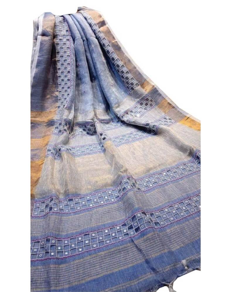 Blue Linen Cut Work Saree