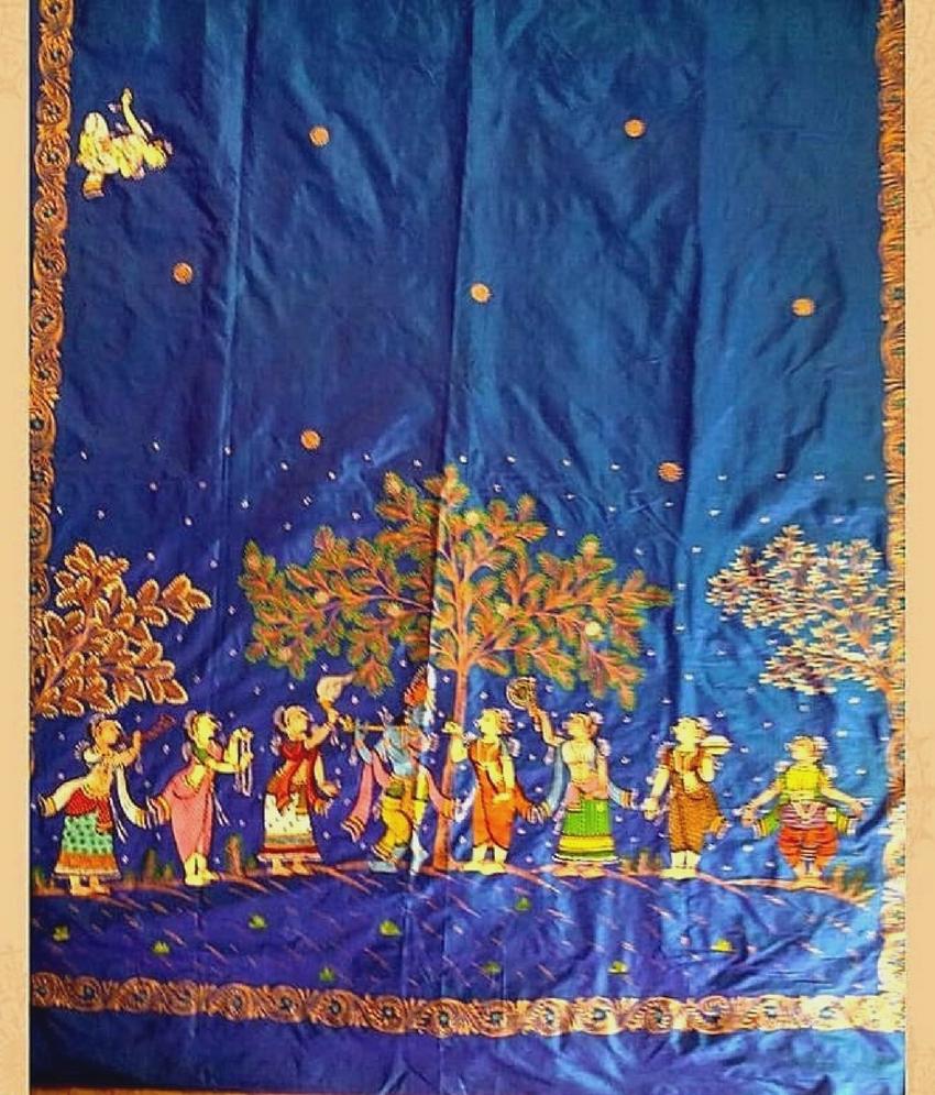 Blue Pattachitra Saree