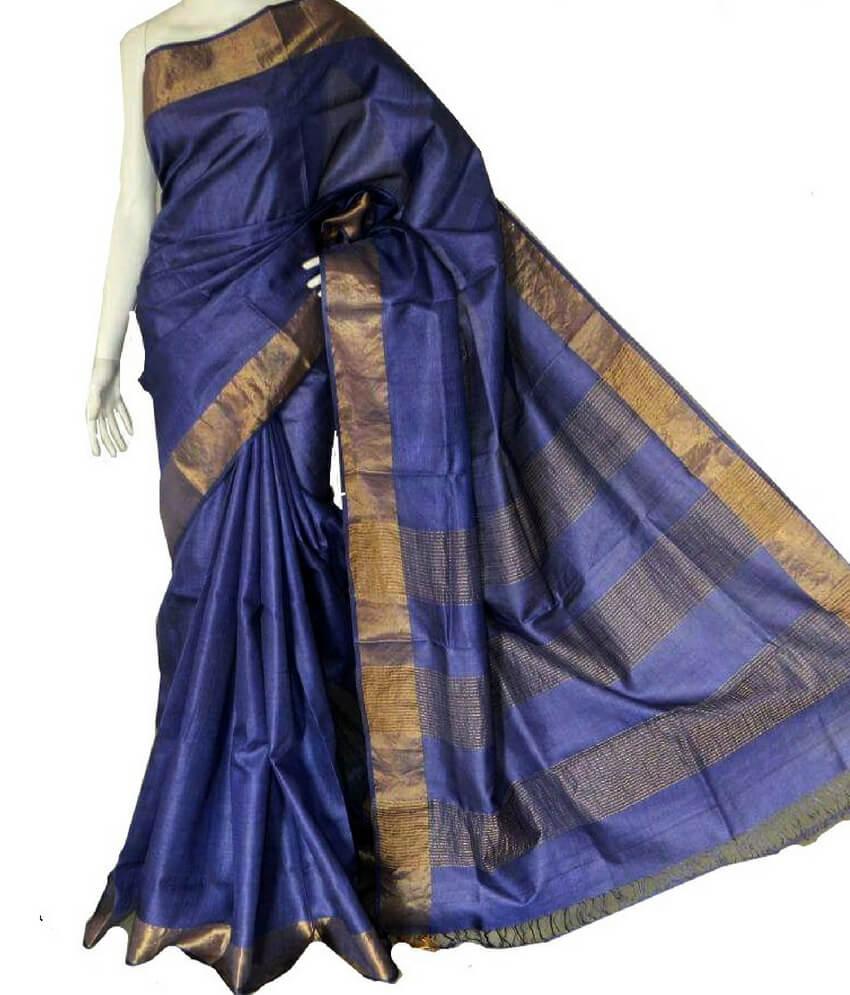 Blue Tussar Zari Work Saree