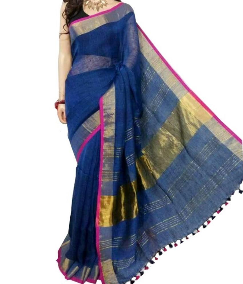 Blue Zari Linen Saree