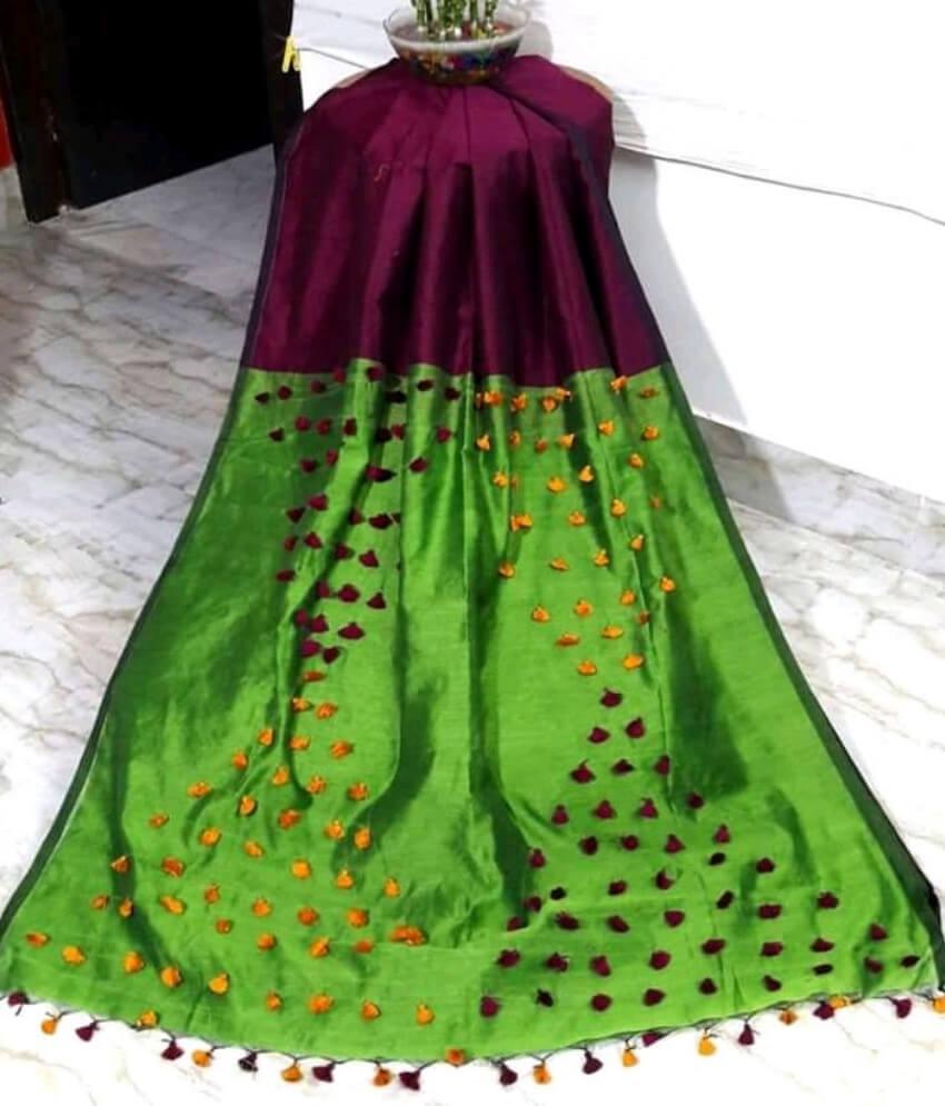 Maroon & Green Pallu Pum Pum Saree