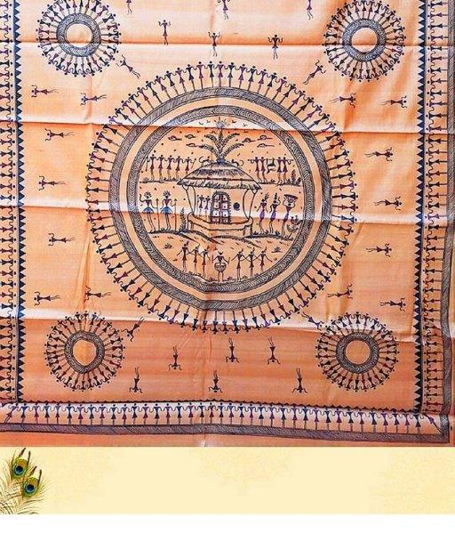 Brown Tribal Painting Saree