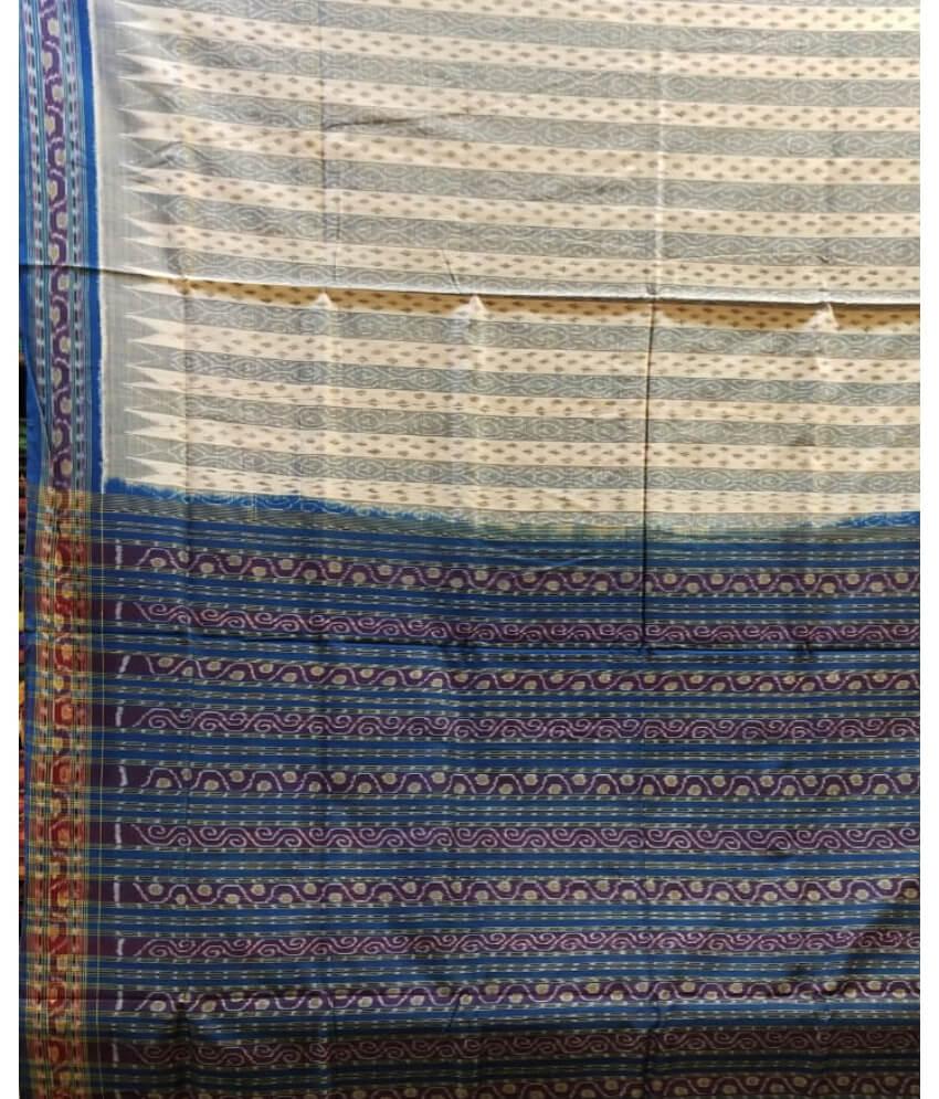 White & Blue Sambaluri Saree