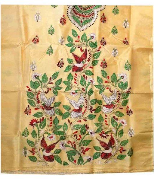 Cream Tussar Silk Suit Piece
