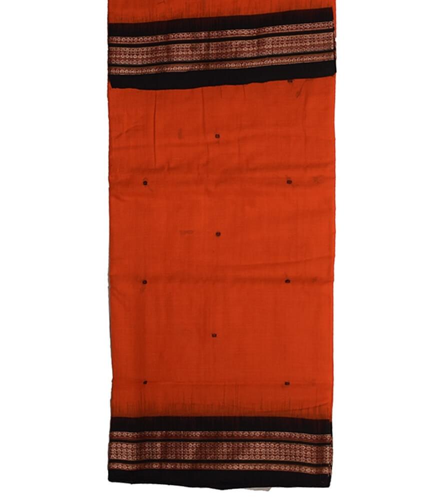 Orange & Black Bomkai Cotton Saree